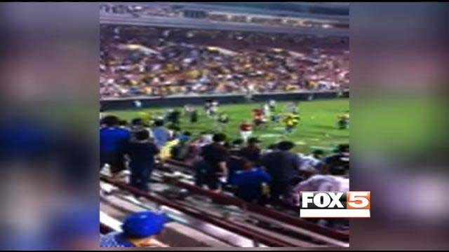 A video image captured the chaos inside Sam Boyd Stadium during the Club America-Chivas matchup.