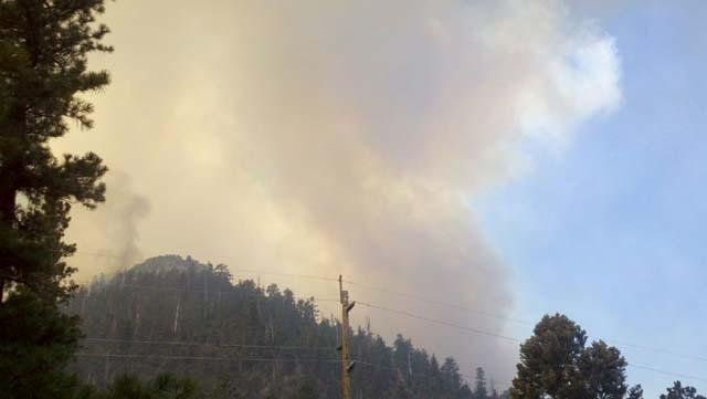 A firefighter caught this shot of the Carpenter 1 fire on Mt. Charleston. (Lindsay Curtis/FOX5)