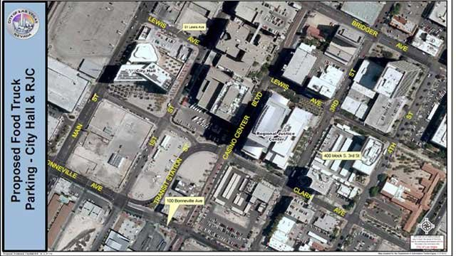 A map shows the locations of the designated food truck parking spots. (City of Las Vegas)