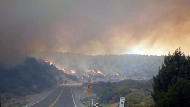 Flames from the Carpenter 1 wildfire approach a road near Mt. Charleston on July 9, 2013. (Source: inciweb.org)