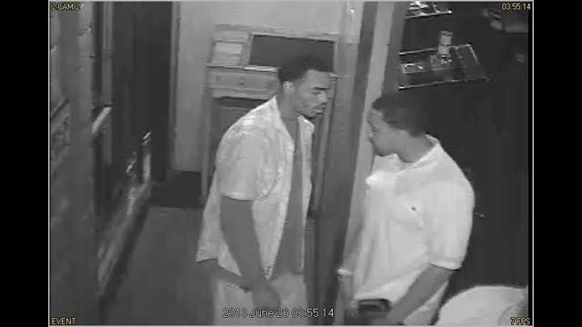 Subject No.1, left, and Subject No. 2, right, seen on security video images. (LVMPD)