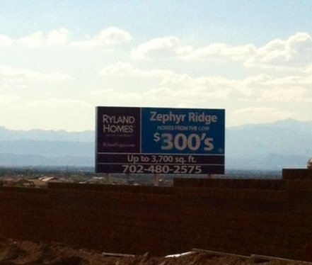 A sign near Gibson and Horizon Ridge advertises homes beginning in the $300,000 range, something that hasn't been seen in years. (Ashley Conroy/FOX5)