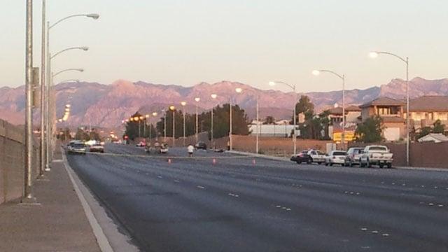 Desert Inn Road was shut down between Buffalo and Tenaya. (Peter Dawson/FOX5)
