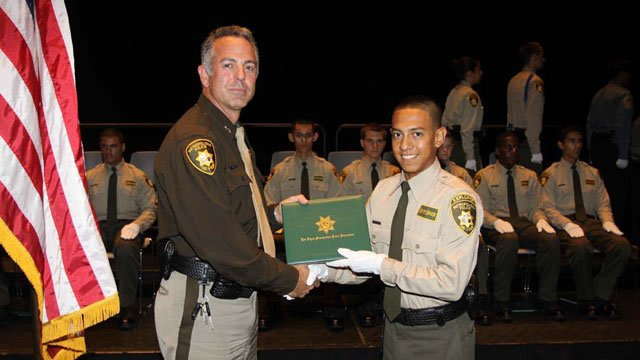 Angel Velasquez, seen at his Explorer program graduation, was studying criminal justice at College of Southern Nevada. (Source: LVMPD)