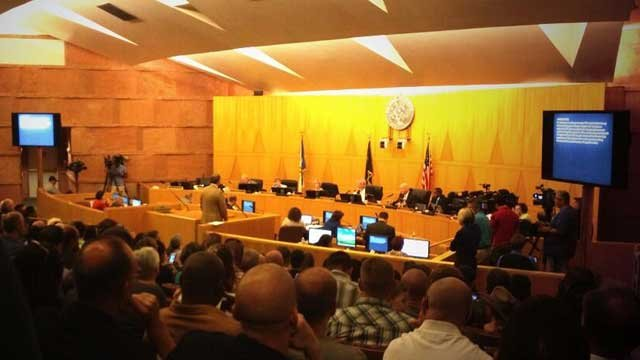 The Clark County Commission chambers was filled to capacity as members mulled a vote on raising the sales tax for the hiring of more cops. (Christian Cazares/FOX5)