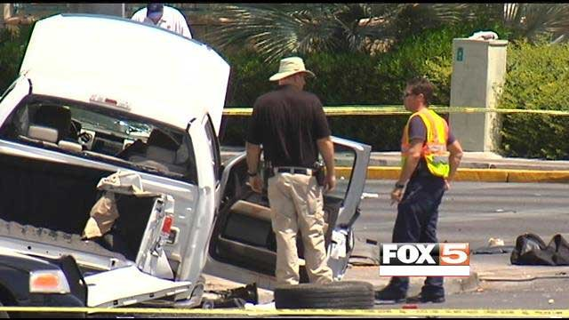 Police said the pick-up truck was traveling at a high-rate of speed when it crashed at Valley View and Flamingo. (FOX5)