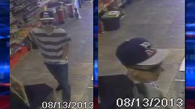 Police said the suspect entered businesses, pulled a gun on clerks and fled once receiving cash. (LVMPD)