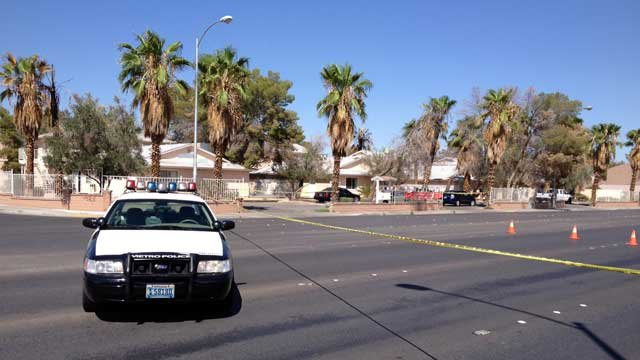 Crime scene tape blocks part of Owens Avenue after a shooting in Sept. 5, 2013. (Justin Grant/FOX5)