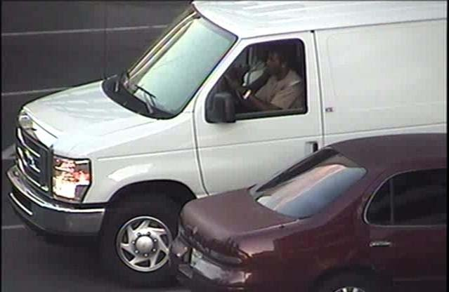 The suspects inside their white Ford van. (LVMPD)