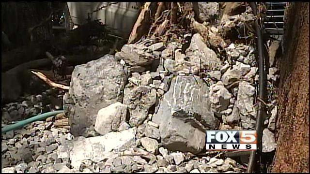 Rocks and debris left by floodwater in the Rainbow subdivision on Mount Charleston. (FOX5)