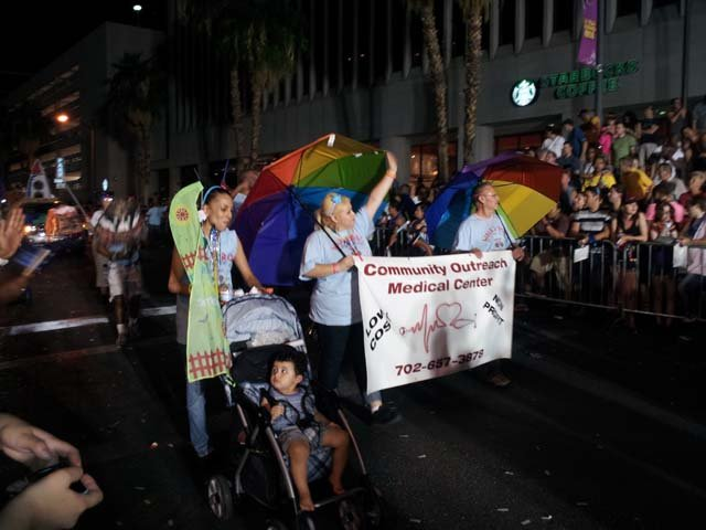 The Pride Parade makes its way down 4th Street in Las Vegas on Friday night. (Jon Castagnino/FOX5)