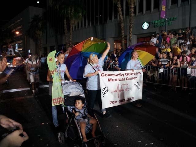 The Pride Parade makes its way down 4th Street in Las Vegas on Friday night. (Jon Castagnino/FOX5)