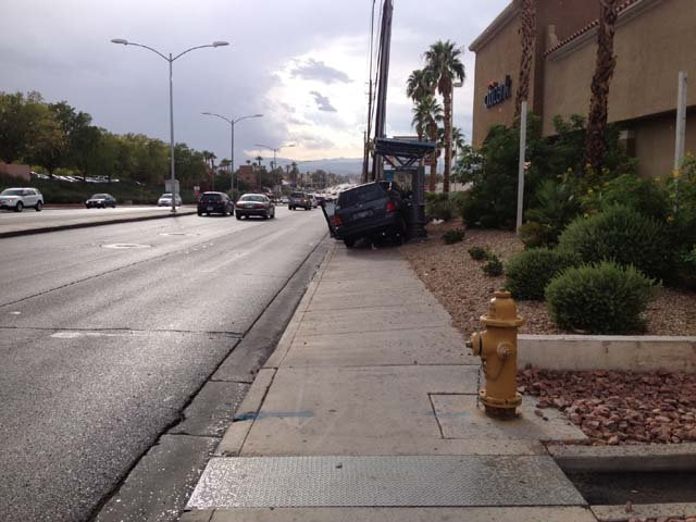 Henderson police said one person was injured when a minivan struck a bus stop on Tuesday afternoon. (Justin Grant/FOX5)
