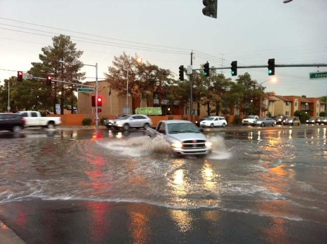 Flooding at Tropicana and Andover. (Ashley Conroy/FOX5)