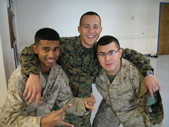 D'Silva with Marine buddies. (Reuben D'Silva)