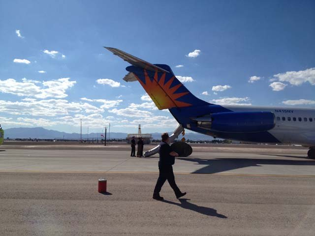 Allegiant flight 436 on the taxiway after being evacuated Monday afternoon. (Cheryl Dorsey)