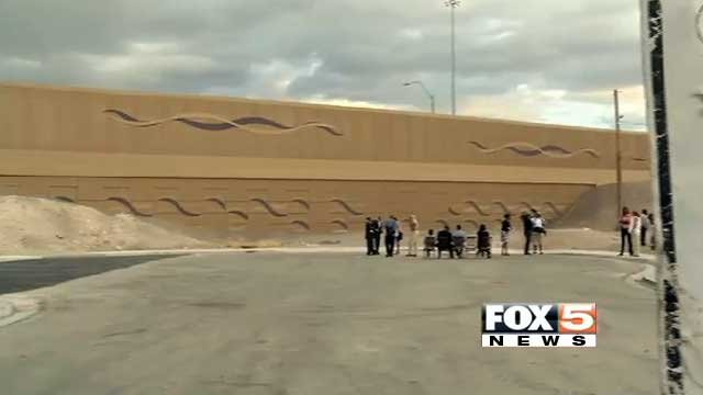 A wall that divides F Street from downtown Las Vegas was built when Interstate 15 was constructed. (File/FOX5)
