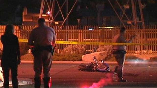 Police said speed may be a factor in a crash between a motorcycle and a vehicle on Tropicana Avenue. (FOX5)