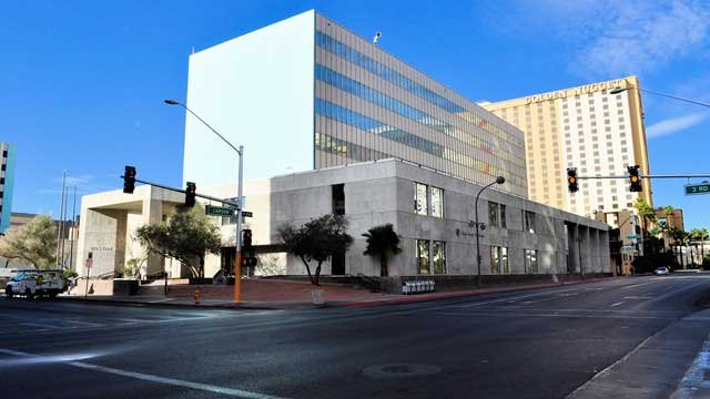 The vacant Clark County Courthouse on Third Street appears on a clear day in this 2013 image. (Source: Nevada State Museum)