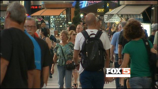 Fremont Street Experience plans to set up barricades on Friday as a curfew begins in downtown. (FOX5)