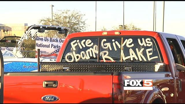 Pickup trucks hauling boats paraded the Las Vegas Strip in protest of the government shutdown. The shutdown forced the closure of Lake Mead to boaters. (FOX5)