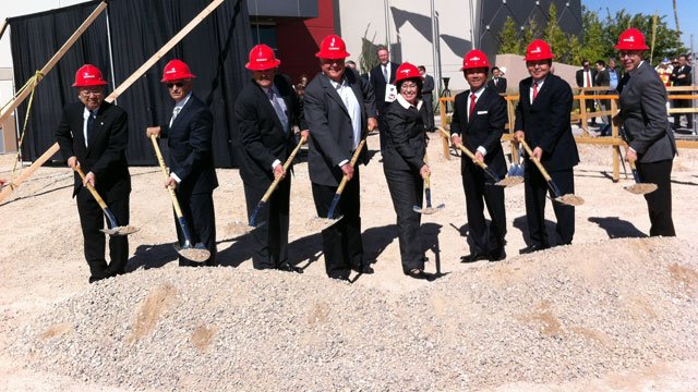 Officials break ground on a massive expansion at the Konami facility on Oct. 8, 2013. (FOX5)