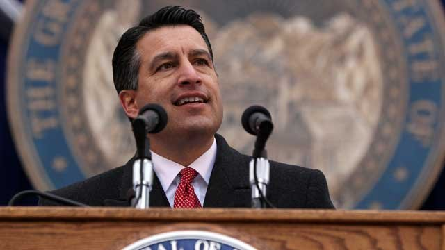 Nevada Gov. Brian Sandoval makes his inaugural address during Monday's inauguration ceremony, Jan. 3, 2011 at the Capitol in Carson City, Nev. (AP Photo/Cathleen Allison)
