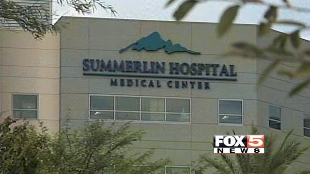 A blue sky is seen behind Summerlin Hospital on Oct. 7, 2013. (FOX5)