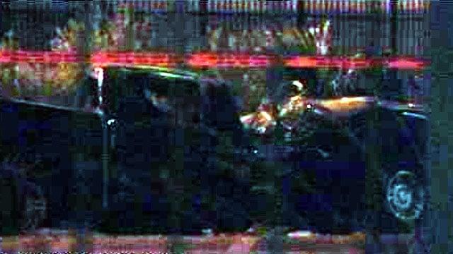 Police investigate the scene of a fatal crash near Desert Inn and Paradise roads on Oct. 9, 2013. (FOX5)
