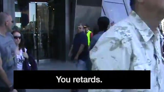 "In one moment in the video, a protest leader was heard calling people ""retards."" (Source: YouTube.com)"