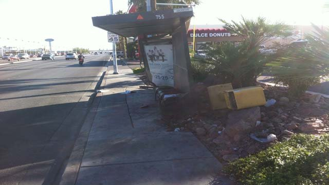 A vehicle on Friday afternoon struck a bus stop near Washington Avenue and Decatur Boulevard. (Jason Valley/FOX5)