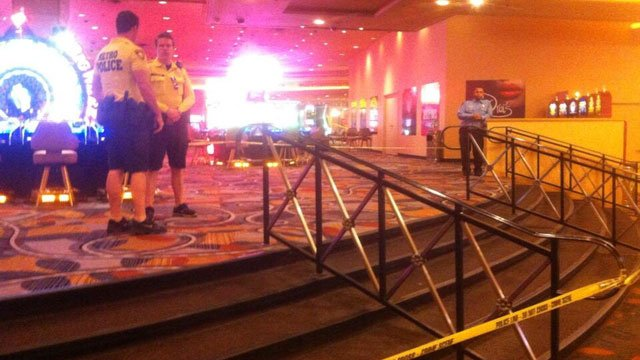 Las Vegas Metro police taped off a section inside Bally's hotel-casino after an early morning shooting on Oct. 21, 2013. (Shannon Moore/FOX5)