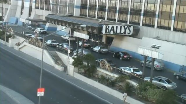 Nearly 10 police cruisers are seen outside Bally's casino on the Las Vegas Strip on Oct. 21, 2013, after a shooting inside. (FOX5)
