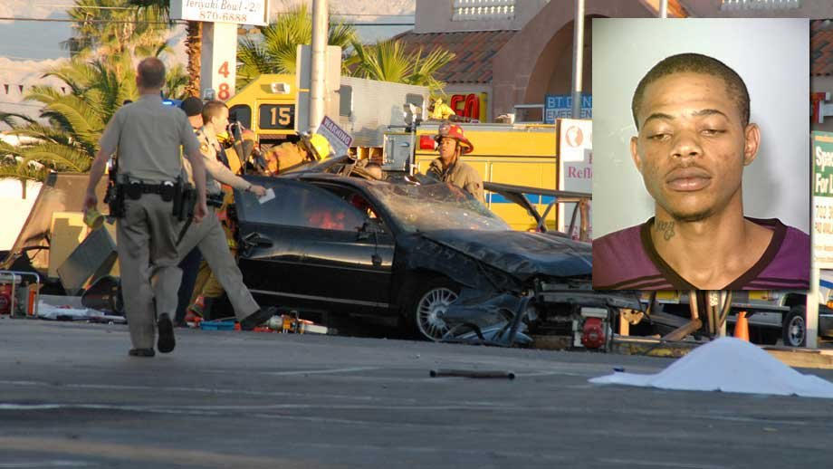 In an arrest report, Gary Hosey, Jr. told police he had been rushing to get home before crashing into a bus stop shelter. (LVMPD, overlay; James Atencio)