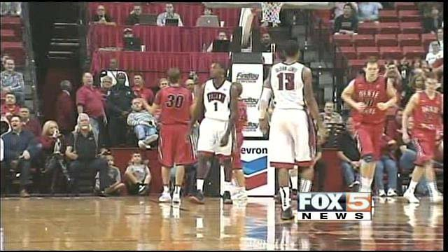 The Runnin' Rebels struggled Friday with Dixie State, losing 71-70. (FOX5)