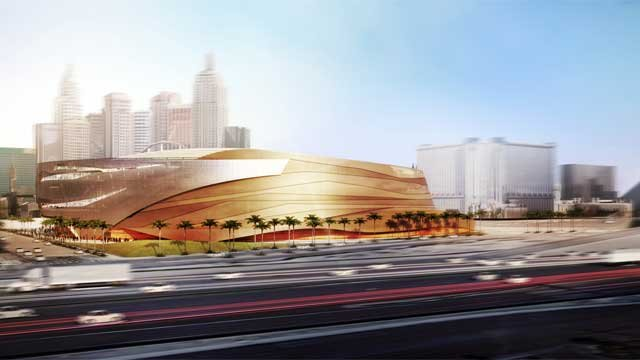 The new arena is seen from west of the Las Vegas Strip in this artist's rendering.  (Source: AEG/MGM Resorts Int'l)