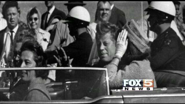 A file photo from Nov. 22, 1963 used during a panel discussion at the Mob Museum in downtown Las Vegas on the Kennedy assassination Thursday night. (FOX5)