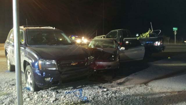 A three-vehicle wreck occurred Thursday evening at the site of a candlelight vigil for a teen hit and killed by a truck. (Jon Castagnino/FOX5)