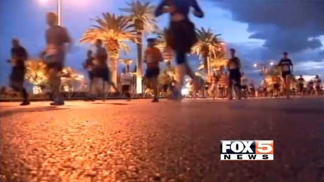 Runners jog down the Las Vegas Strip during the Rock 'n' Roll Marathon in this undated file image. (File/FOX5)