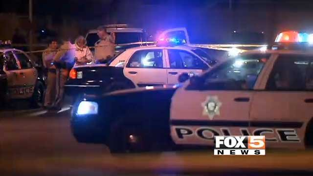 Las Vegas Metro police investigate a hit-and-run crash Oct. 31, 2013, that left a 6-year-old girl critically injured. (FOX5)