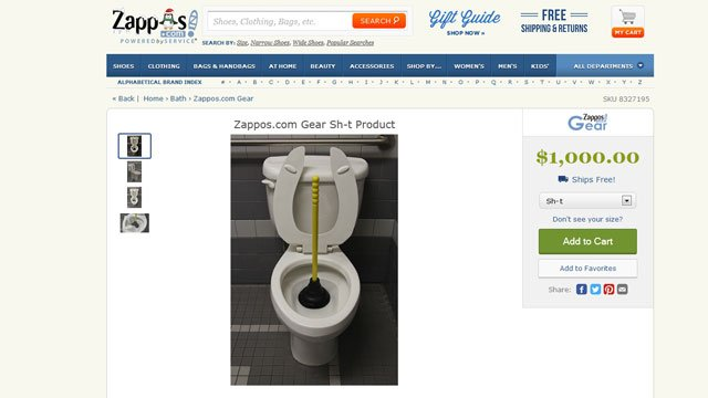 """As a response to Kanye West blasting the online retailer, Zappos.com made a """"sh-t product"""" available for sale on the website on Nov. 20, 2013. (Zappos.com)"""
