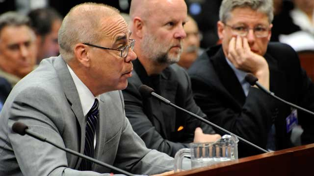 University of Nevada, Las Vegas President Neal Smatresk, testifies for passage of SB501 as Chairman James Dean Leavitt and Attorney Mark Fiorentino look on June 2, 2011. (AP Photo/Lisa J. Tolda)