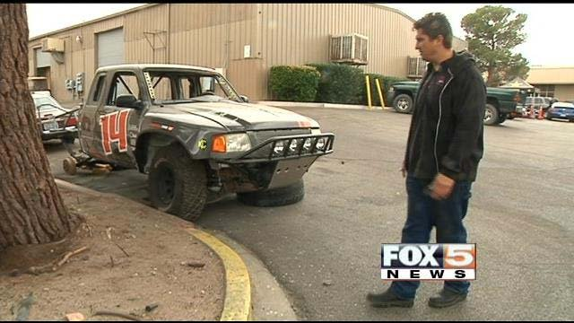 Scorpion Motor Sports Owner Dino Martinez inspects the Ford Ranger he was converting to a pre-runner for cancer survivor Michael McLaughlin. (FOX5)