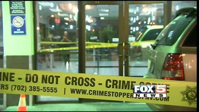 Metro police investigate the Greyhound bus station in downtown Las Vegas following a shooting Thursday evening. (FOX5)