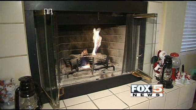 A Las Vegas wood-burning fireplace, which can be handy for another source of warmth during frigid weather. (FOX5)