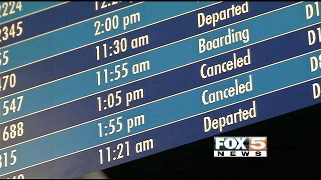 Passengers dealt with numerous delayed and canceled flights at McCarran Airport on Friday. (FOX5)