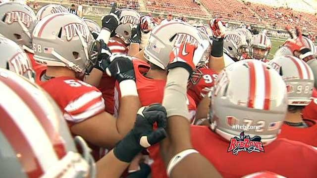 UNLV football players chant before beginning a game at Sam Boyd Stadium in this undated image. (File/FOX5)
