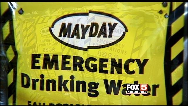 The Zombie Apocalypse store in Las Vegas stock emergency drinking water among numerous other items. (FOX5)