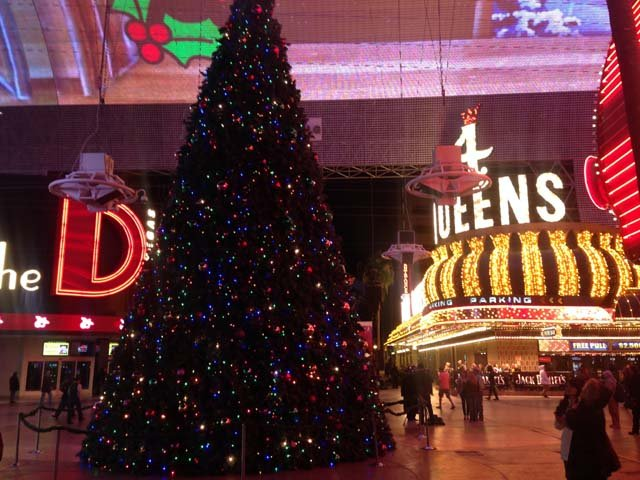 The 50-foot Christmas tree at Fremont Street Experience, lit up Wednesday night. (Les Krifaton/FOX5)