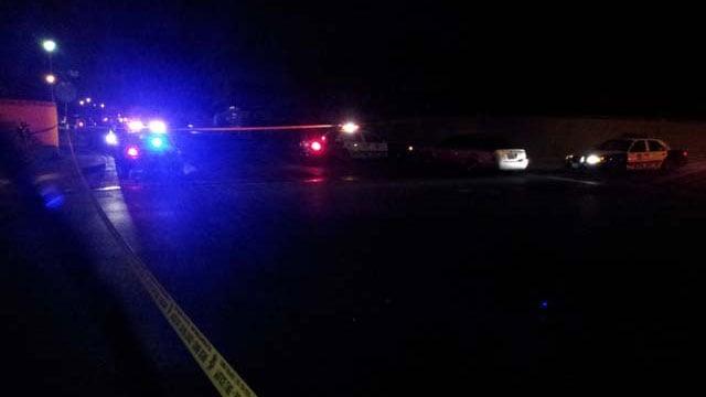 Metro police investigate an officer-involved shooting on University Avenue in Las Vegas Monday night. (Arron Healy/FOX5)